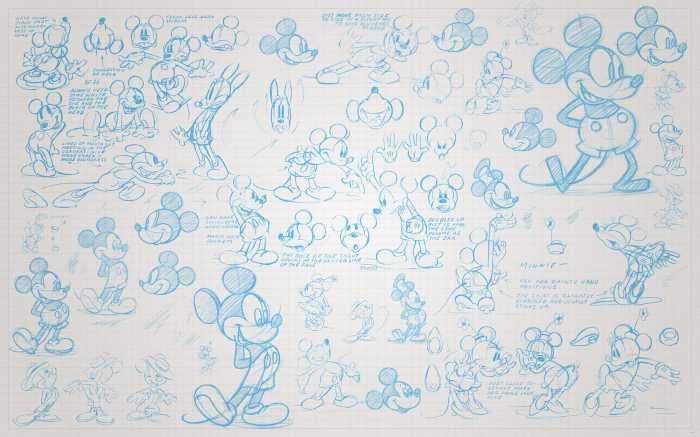 Digitaldrucktapete Mickey Sketches