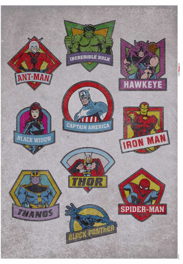 Wandtattoo Avengers  Classic Badges