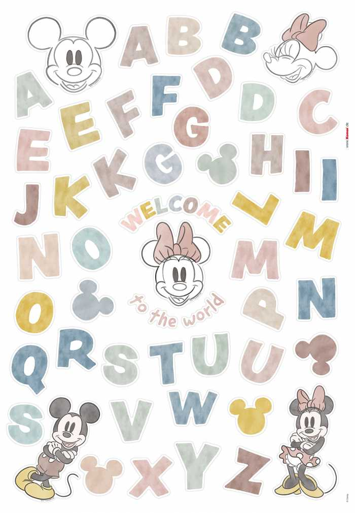 Wandtattoo Mickey Alphabet