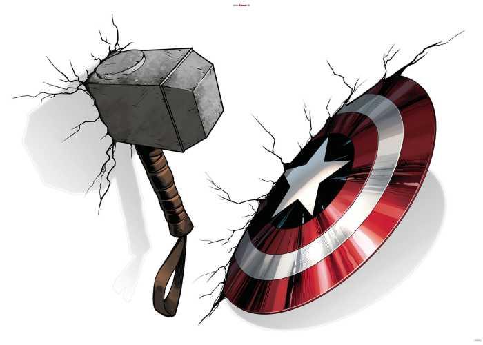 Wandtattoo Avengers Hammer & Shield