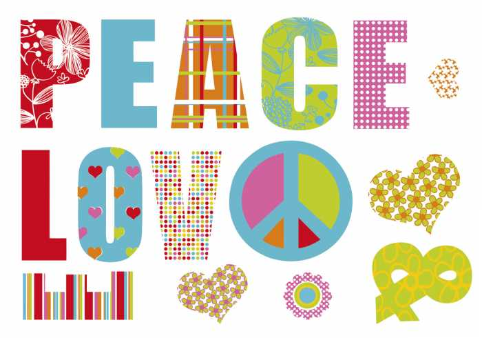 Wandtattoo Love and Peace