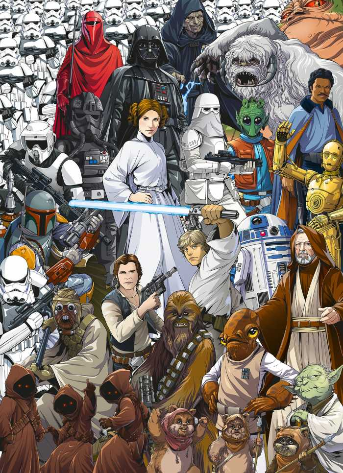 Fototapete Star Wars Classic Cartoon Collage