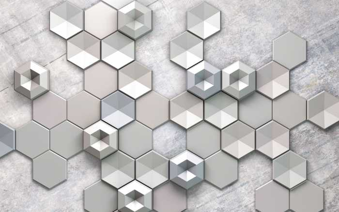 Digitaldrucktapete Hexagon Concrete