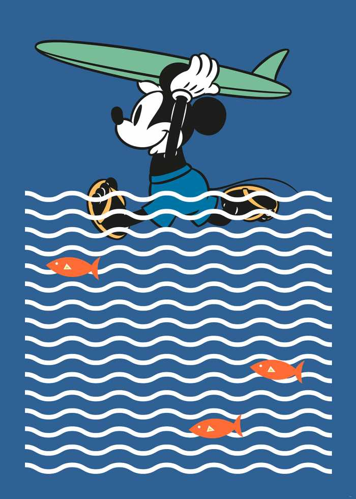 Digitaldrucktapete Mickey gone Surfin'