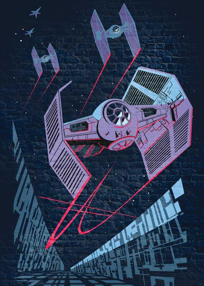 Digitaldrucktapete Star Wars Classic Concrete TIE-Fighter