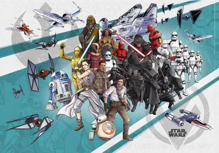 Digitaldrucktapete Star Wars Cartoon Collage Wide
