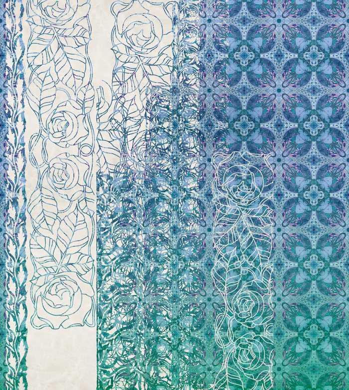 Digitaldrucktapete Art Nouveau Bleu