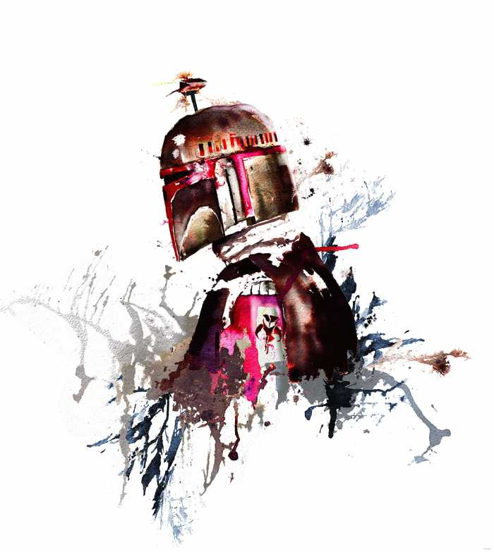 Digitaldrucktapete Star Wars Watercolor Boba Fett