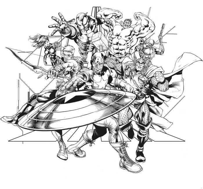 Digitaldrucktapete Avengers Black and White