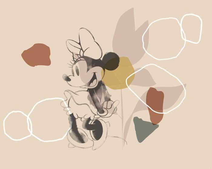 Digitaldrucktapete Minnie Soft Shapes