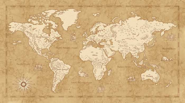 Digitaldrucktapete Vintage World Map