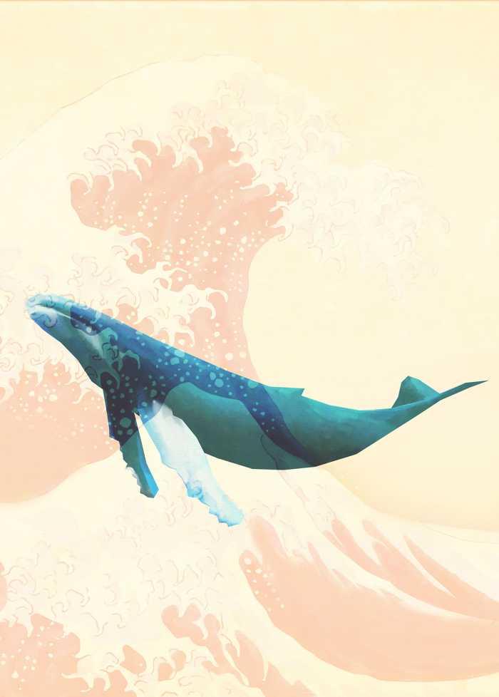 Digitaldrucktapete Whale Voyage