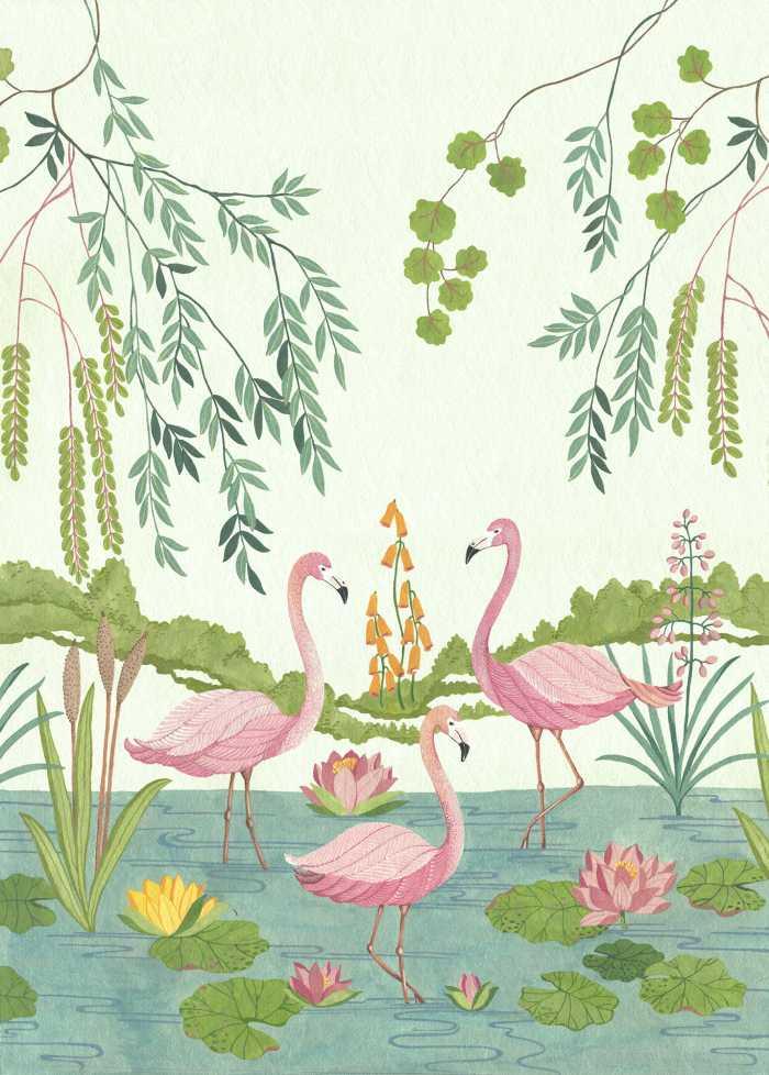 Digitaldrucktapete Flamingo Vibes