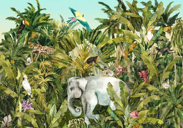 Digitaldrucktapete Jungle Expedition