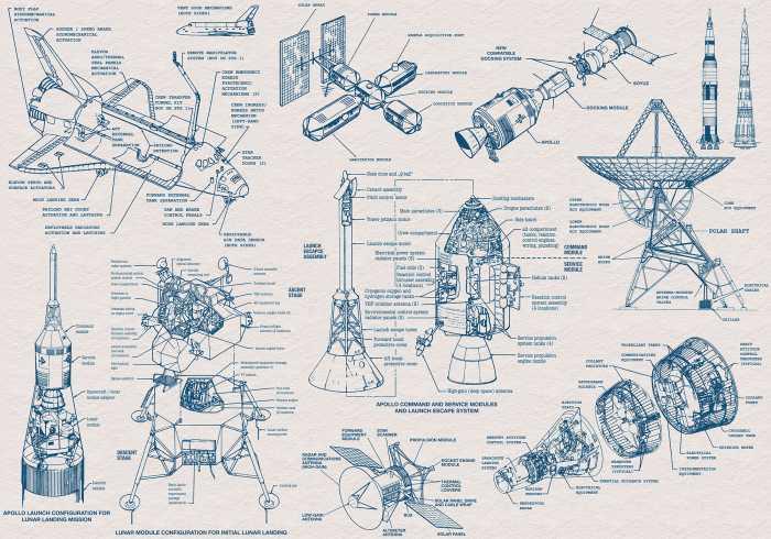 Digitaldrucktapete Spacecraft Architecture