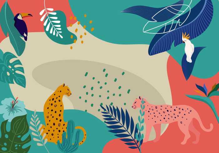 Digitaldrucktapete Jungle Rendezvous