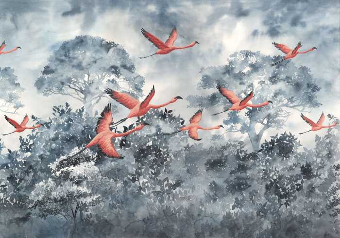 Digitaldrucktapete Flamingos in the Sky