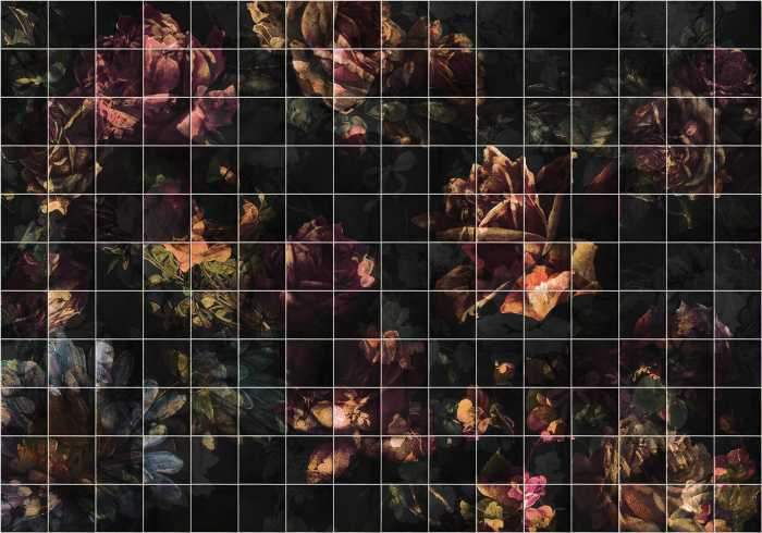 Digitaldrucktapete Tiles Flowers