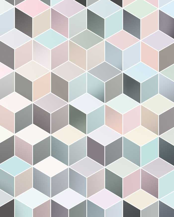 Digitaldrucktapete Cubes Pastel