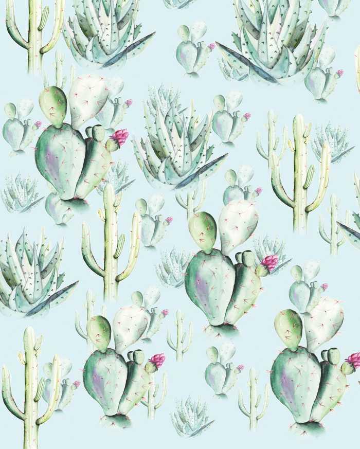 Digitaldrucktapete Cactus Blue