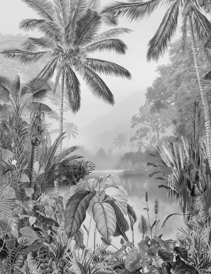 Digitaldrucktapete Lac Tropical Black & White