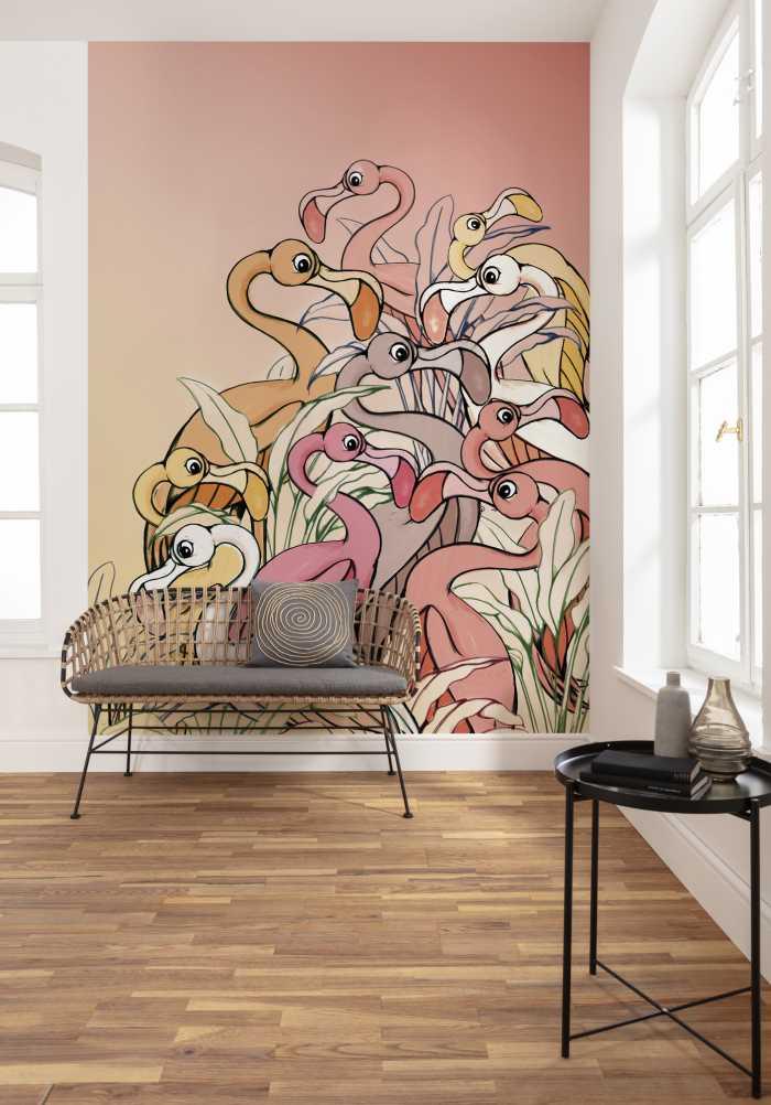 Digitaldrucktapete Flamingos and Lillys