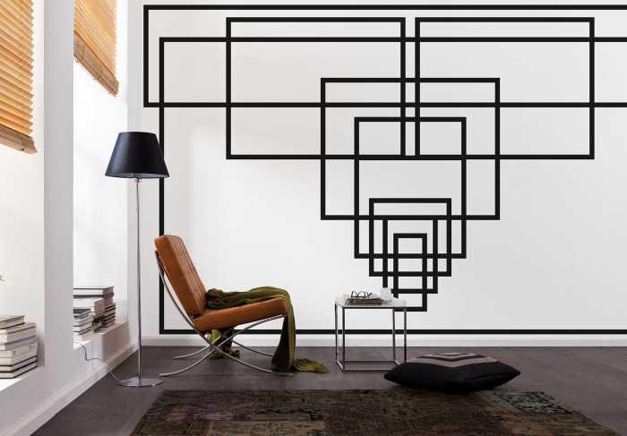 Digitaldrucktapete Mills Board Center white-black