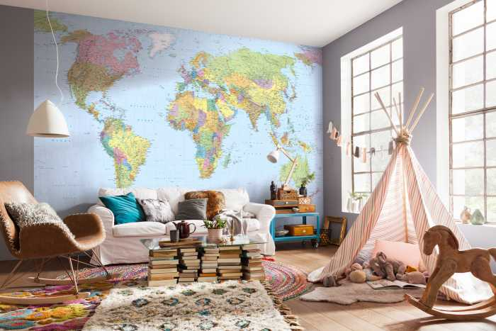 Vliestapete World Map