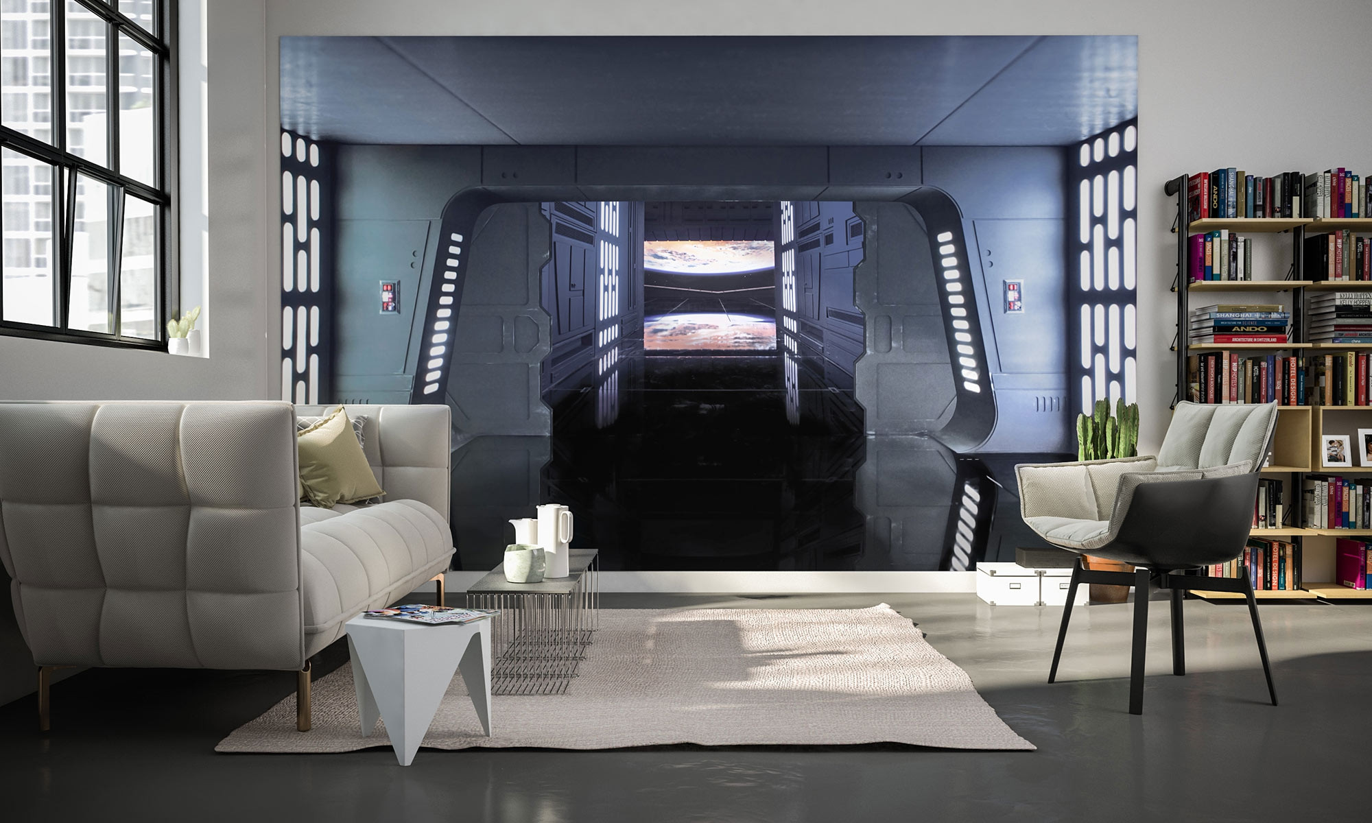 vliestapete star wars death star floor von komar. Black Bedroom Furniture Sets. Home Design Ideas