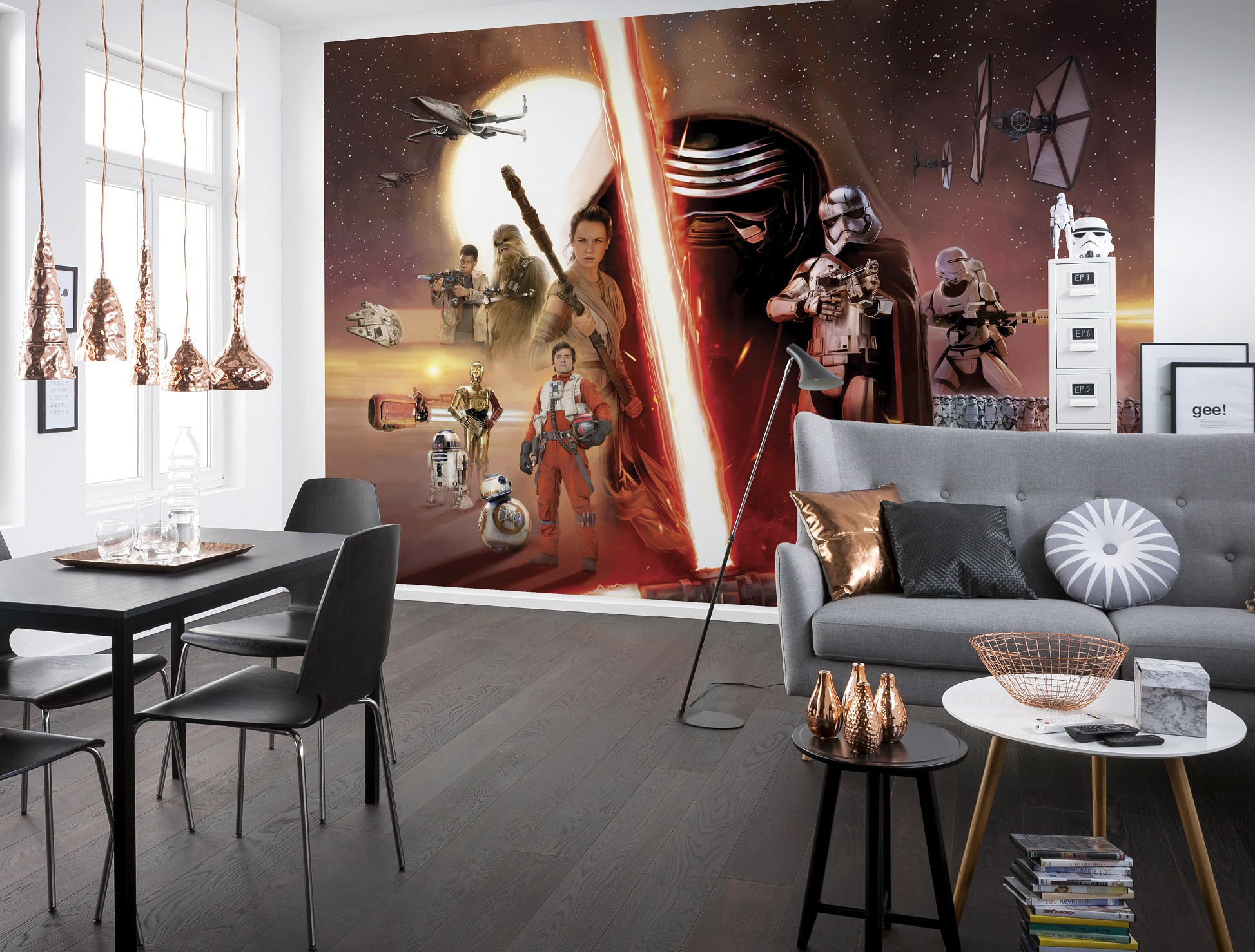 fototapete star wars ep7 collage von komar. Black Bedroom Furniture Sets. Home Design Ideas