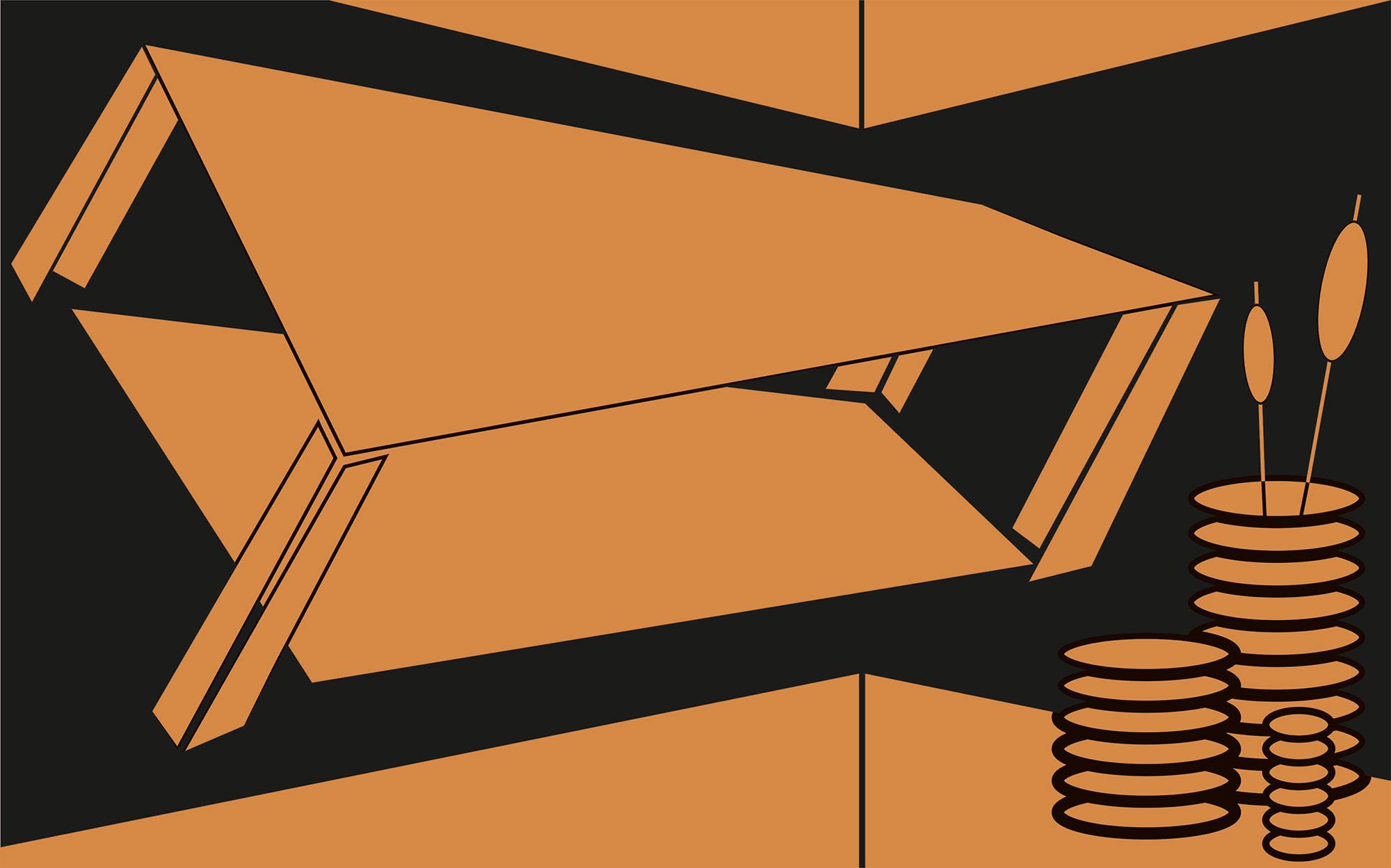 Perspective Table orange-black