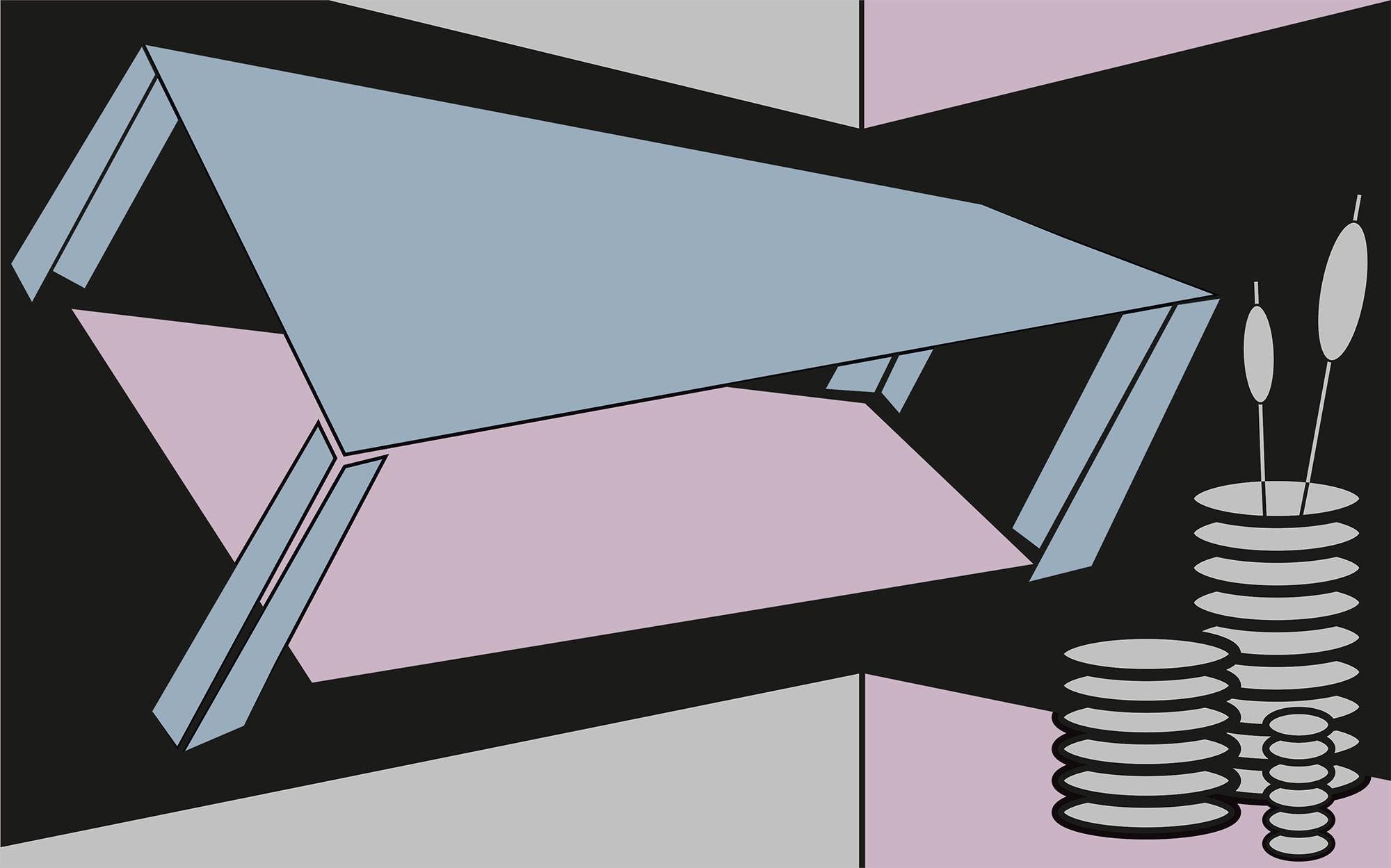 Perspective Table bleu-grey-rose