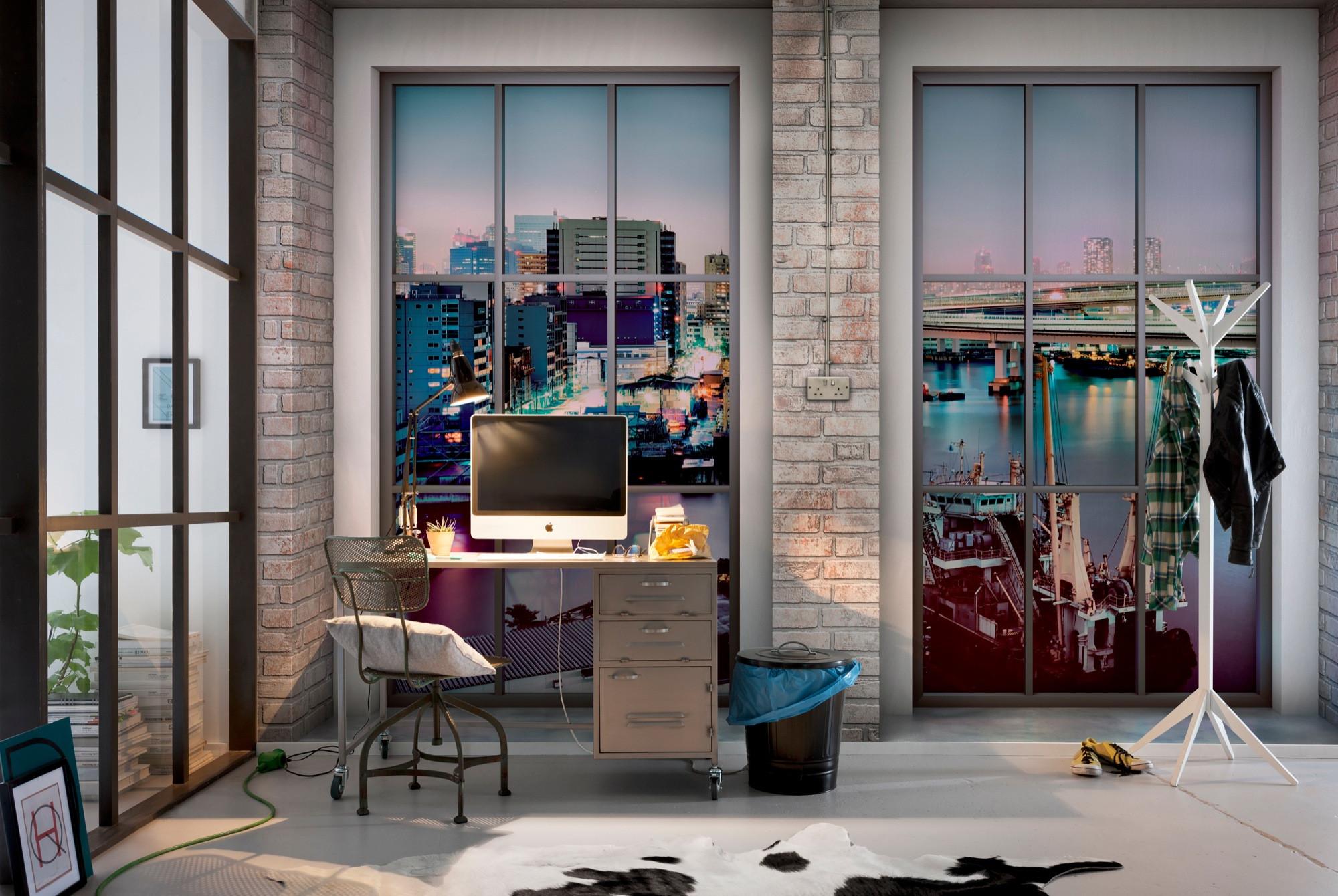 vliestapete loft von komar. Black Bedroom Furniture Sets. Home Design Ideas